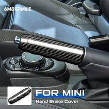 Ambermile fibra de carbono duro para mini cooper f55 f57 f56 hatchback acessórios interior do carro aperto do freio de mão cobre guarnição