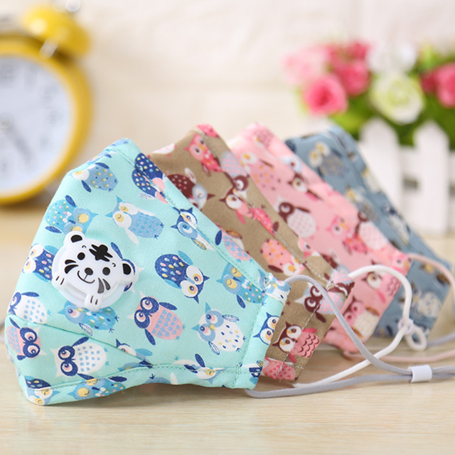 3Set Owl Print Kids Mouth Face Masks For Children Anime Washable Reusable Cloth Mask Filter Cute Cotton Mask