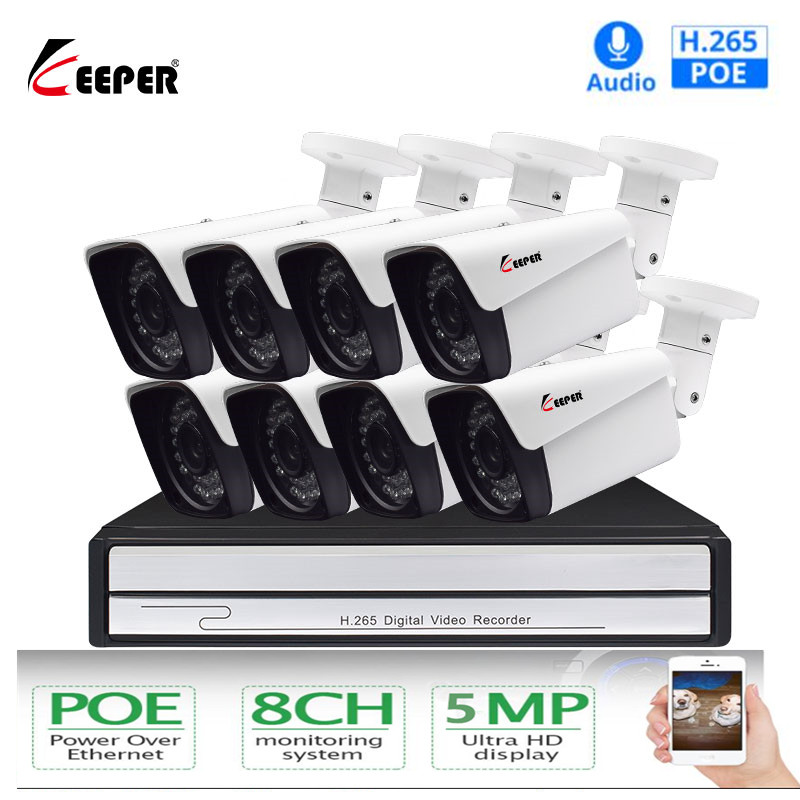 Keeper H.265 8CH 5MP POE Sistema de Câmera de Segurança Kit de Áudio Registro Da Câmera IP IR Ao Ar Livre À Prova D' Água de Vídeo Vigilância CCTV NVR conjunto
