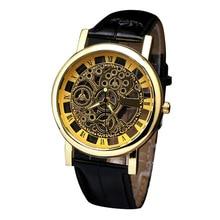 Relogio Masculino 2020 Fashion Men's Business Luxury Watches Hollow Mechanics-shape Gold Leather Band Analog Quartz Wrist Watch