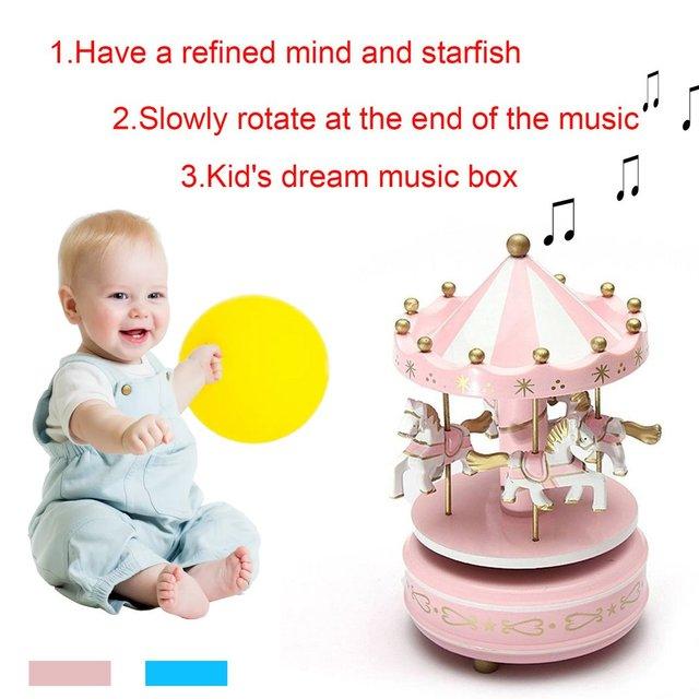 כעליזות מעץ צעצוע ילד תינוק משחק בית תפאורה קרוסלת הסוסים Music Box חג מולד חתונה יום הולדת מתנה חמה 2