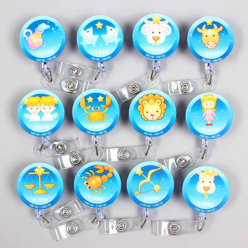 Creative 60cm Cartoon Acrylic 12 Zodiac Signs Identity Retractable Badge Reel Student Nurse Exhibition Enfermera Name Card Chest