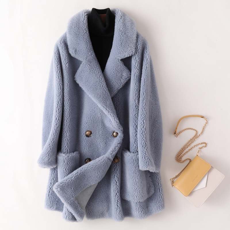 2020 Winter Women Real Sheep Shearing Fur Wool Coat Female Natural Fur Thick Jacket Faux Suede Lining Overcoat Abrigos Mujer Z49
