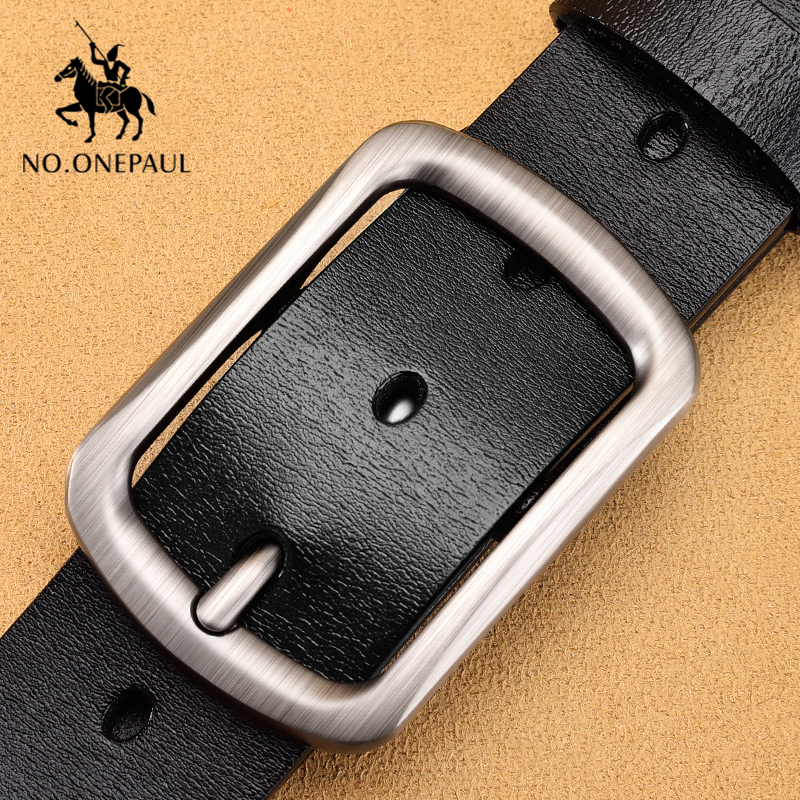 NO.ONEPAUL Leather Belt Men Pin Buckle Cow Genuine Leather Belts For Men Luxury Brand Fashion Business Jeans Buckle Belts Male
