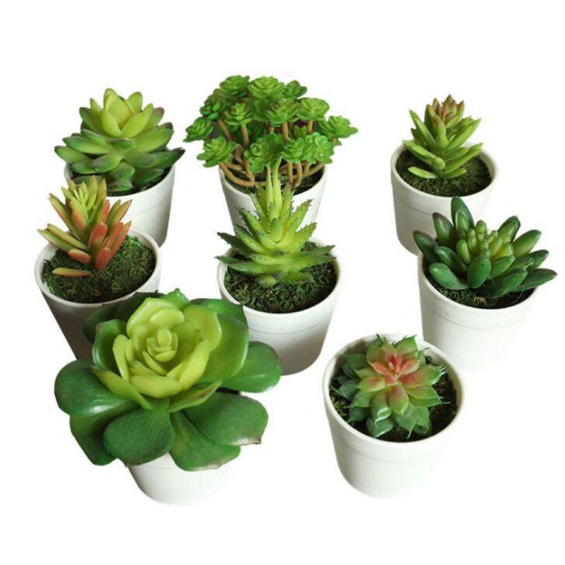 Artificial Succulent Plants Home Decor Pot Fake Decorative Fake Succulent Potted Cactus Plants Home Decoration Accessories
