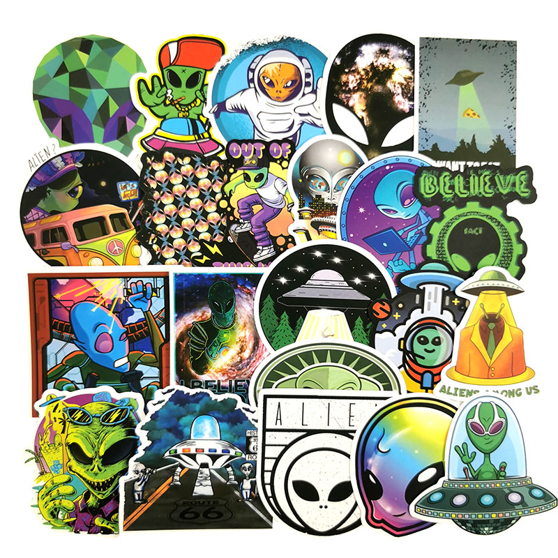 50Pcs Alien Graffiti <font><b>Stickers</b></font> ET <font><b>UFO</b></font> Cartoon <font><b>Stickers</b></font> DIY Skateboard Laptop Suitcase Phone Guitar Decal Toys Gifts for Children image