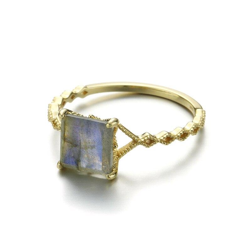 Rétro carré arc-en-ciel Labradorite bague en argent Sterling 925 minimaliste bague pour femmes or Vermeil Antique bijoux bague de fiançailles - 3