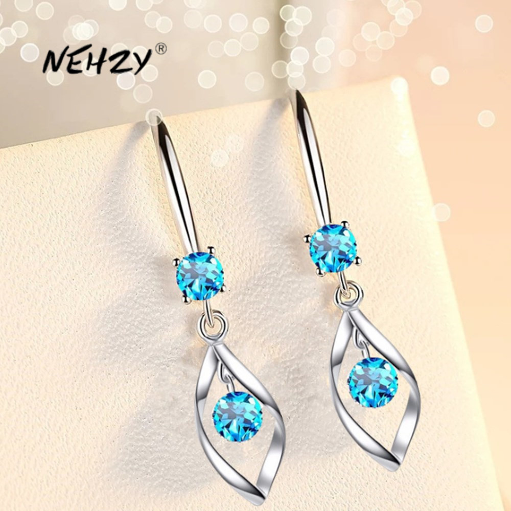 NEHZY 925 Sterling Silver New Woman Fashion Jewelry High Quality Blue Pink White Crystal Zircon Water Drops Hot Retro Earrings