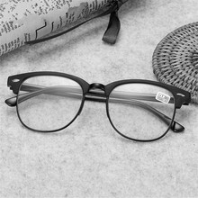 купить Oulylan Classic Reading Glasses Men Retro TR90 Half Frame Presbyopic Eyeglasses Anti Fatigue по цене 302.21 рублей