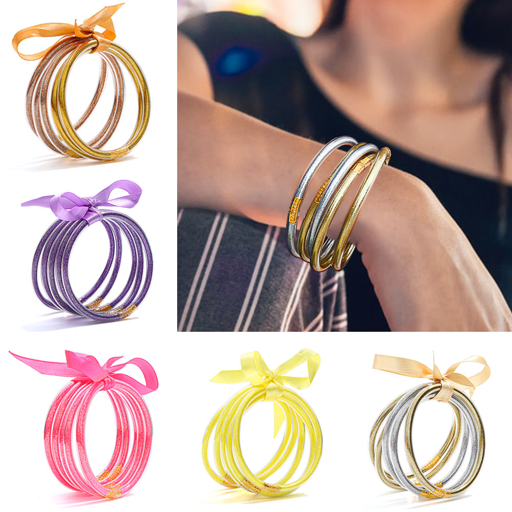 All Weather Bangle Glitter Filled Stardust Silicone Circle Women Bowknot Jelly Bangles Bracelet Femme 2019 Jewelry 5 Pcs/Set