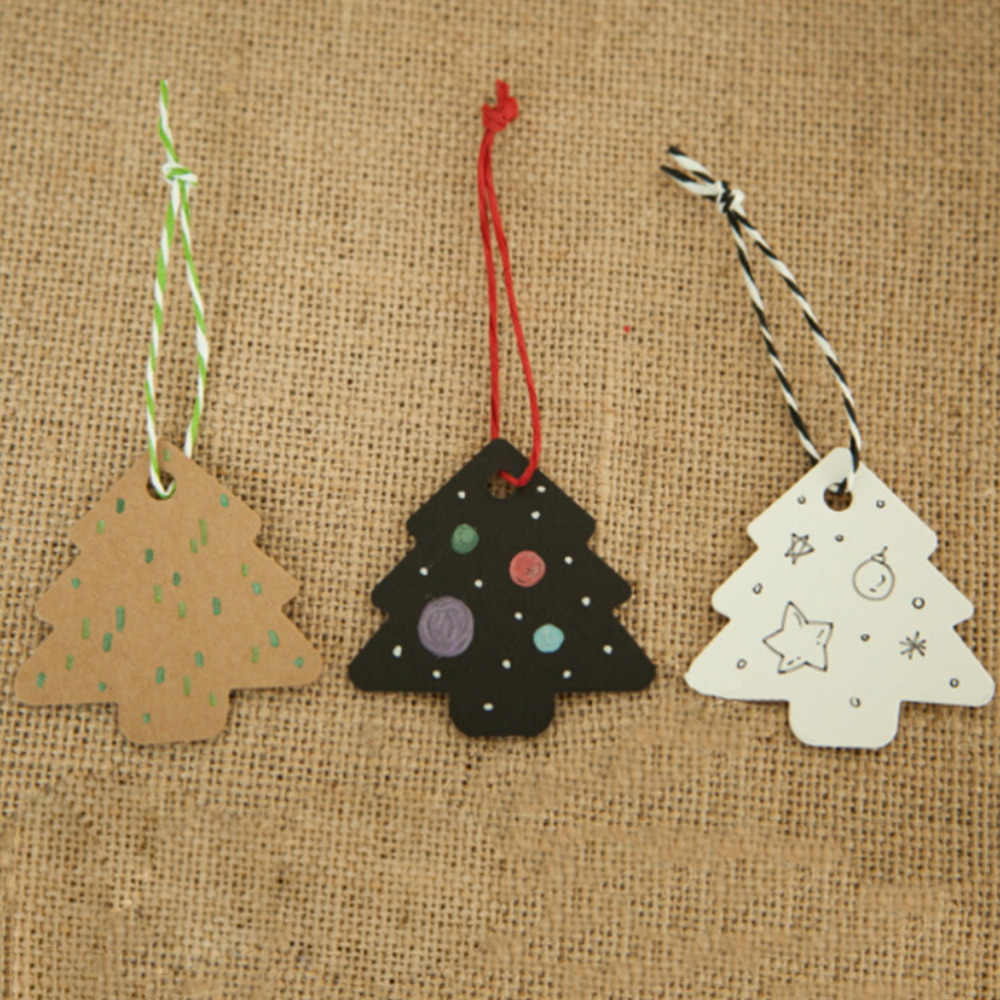 50 Pcs Christmas Tree Shape Hang Tag Kraft Christmas Decoration Cards Gift Wrapping Paper Labels  6
