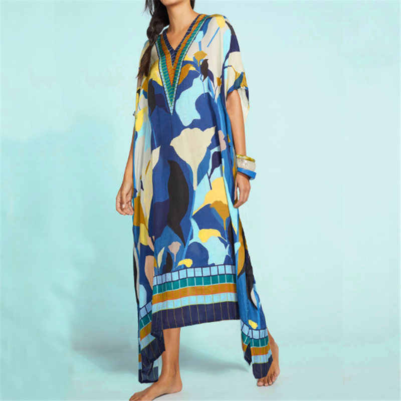 Lange Katoenen Beach Cover Up Pareos De Playa Mujer Kaftan Beach Wear Oversize Bikini Cover Up Gewaad Plage Sarong Strand tuniek # Q807