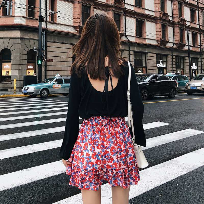 [Dowisi] 2018 Early Autumn New Style WOMEN'S Dress Backless Lace-up T-shirt Floral-Print Half-length Short Skirt Two-Piece Set F