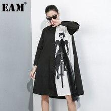 [EAM] abito da donna di grandi dimensioni in maglia stampata con motivo nuovo risvolto manica lunga allentato moda marea primavera estate 2021 1X950
