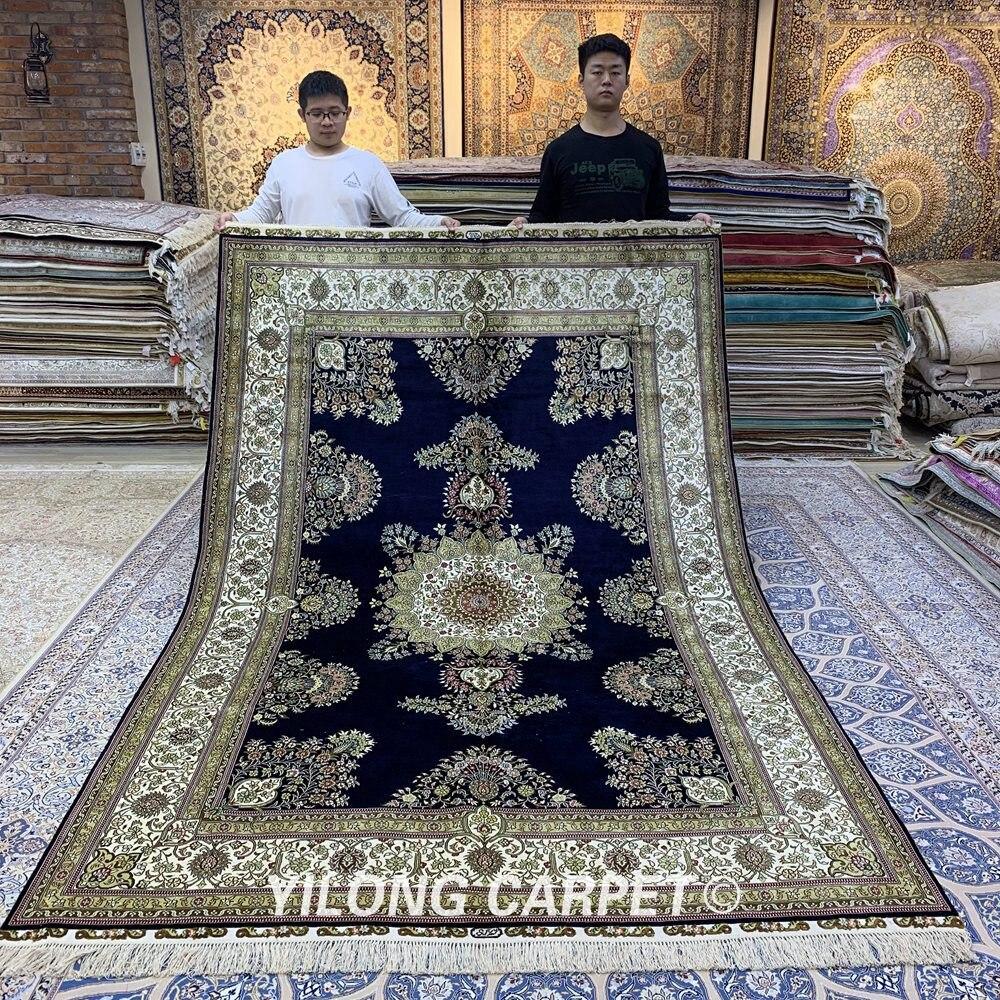 Yilong 6.56'x9.84 'oosterse handgemaakte vloerkleed blauw turkse - Thuis textiel