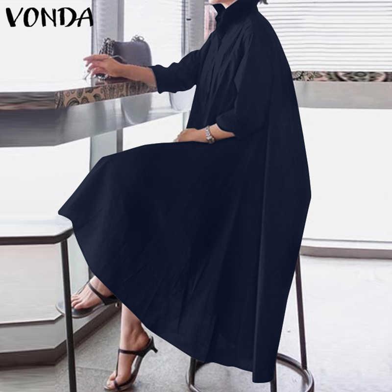 Vondaオフィスレディースドレス女性のセクシーなターンダウン襟非対称パーティードレス夏のサンドレスカジュアルルースvestidoプラスサイズ
