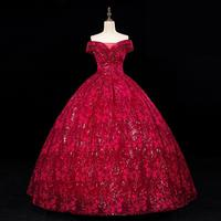 Vestidos 2020 Elegant Quinceanera Dresses Noble Off The Shoulder Ball Gown Luxury Lace Bead Party Prom Gown Vintage Slim Dress