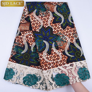 Image 3 - African Wax Lace Fabric Hot Sale Latest Arrival Wax Lace With Guipure Cord Lace Fabric For Nigerian Wedding Party Dress  A1295