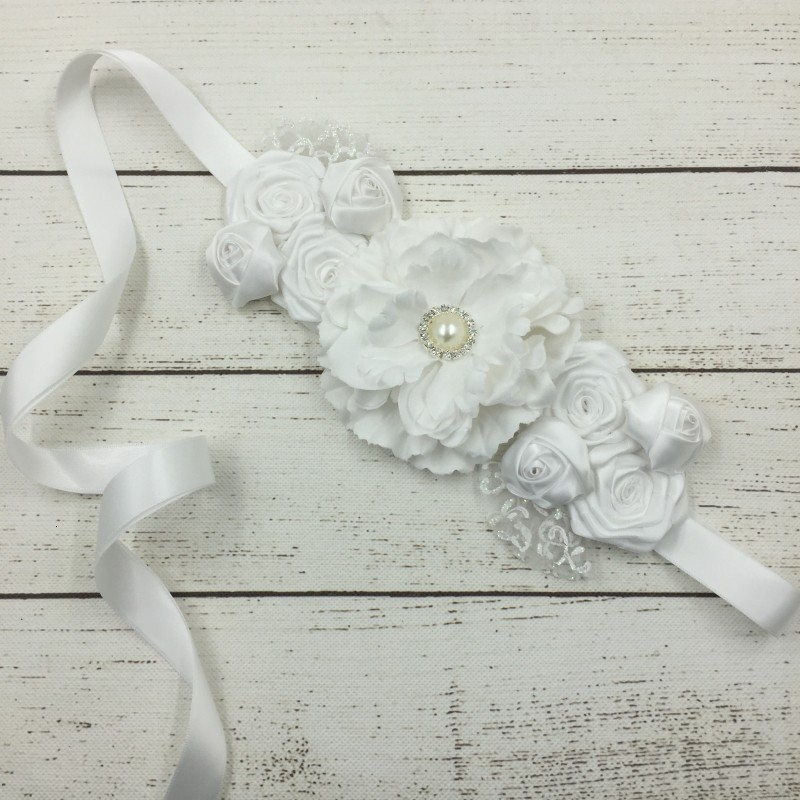 BacklakeGirls New Arrival Elegant Ornaments Pearl Accessories Blossom Bridal Beaded Waistband Ribbon Waist Belt Brautgürtel