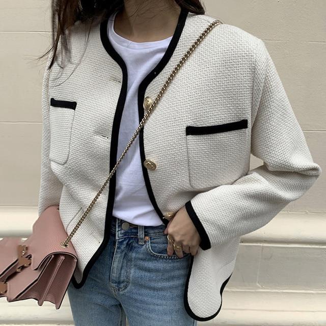 [EWQ] 2021 Autumn Casual New Female Round Neck Single Breasted Loose Panelled Short Jacket Tweed Cardigan Coat 8Y543 5