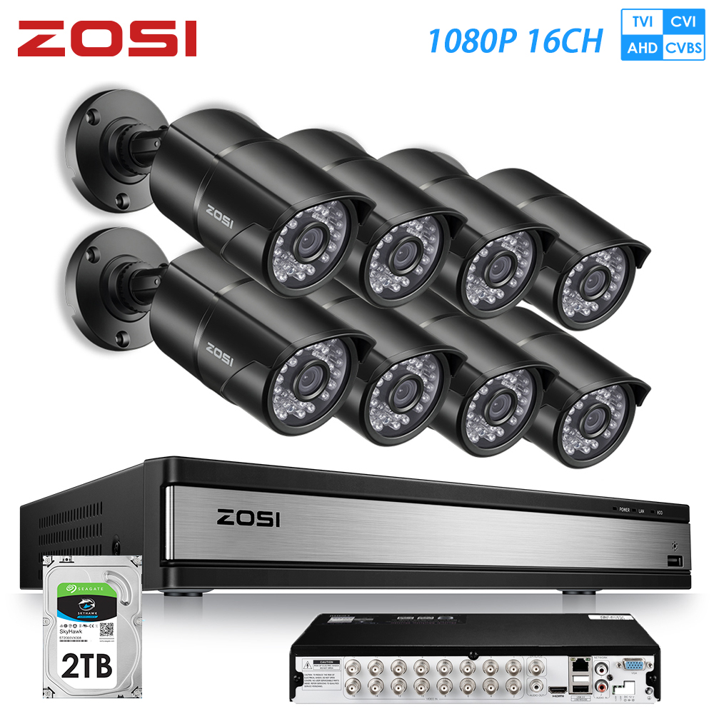 ZOSI 16CH 1080P HDMI DVR 720P Outdoor Home Surveillance Security Camera System