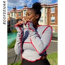 BOOFEENAA-Crop Tops de manga larga con cuello redondo de bloque de color, camiseta gris ajustada Sexy, ropa de calle, camisetas para mujer, C70-AI13 2020