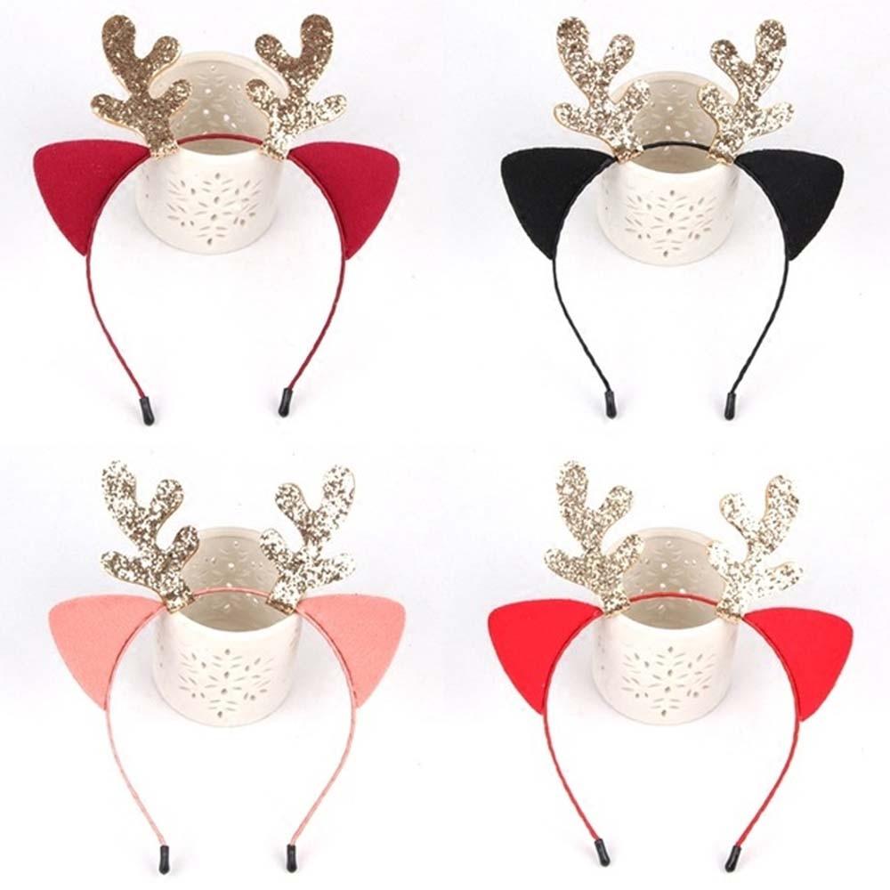 1PC Antler Hair Hoop Reindeer Cute Adjustable Elk Photo Supplies Hair Bands Head Wear Accessory For Christmas Costume Party