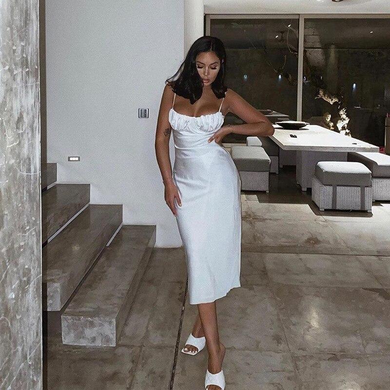 2021 Summer Vintage Women Midi Dress Sexy Backless Lace Up Long Party Ladies Dress Spaghetti Strap Elegant White Satin Dress 5