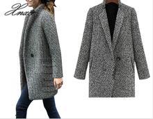 купить Female single-breasted Woolen Coat spring/Autumn High Quality Woolen Jacket coat Thick Warm Windproof Long section Loose Overoat по цене 1572.27 рублей