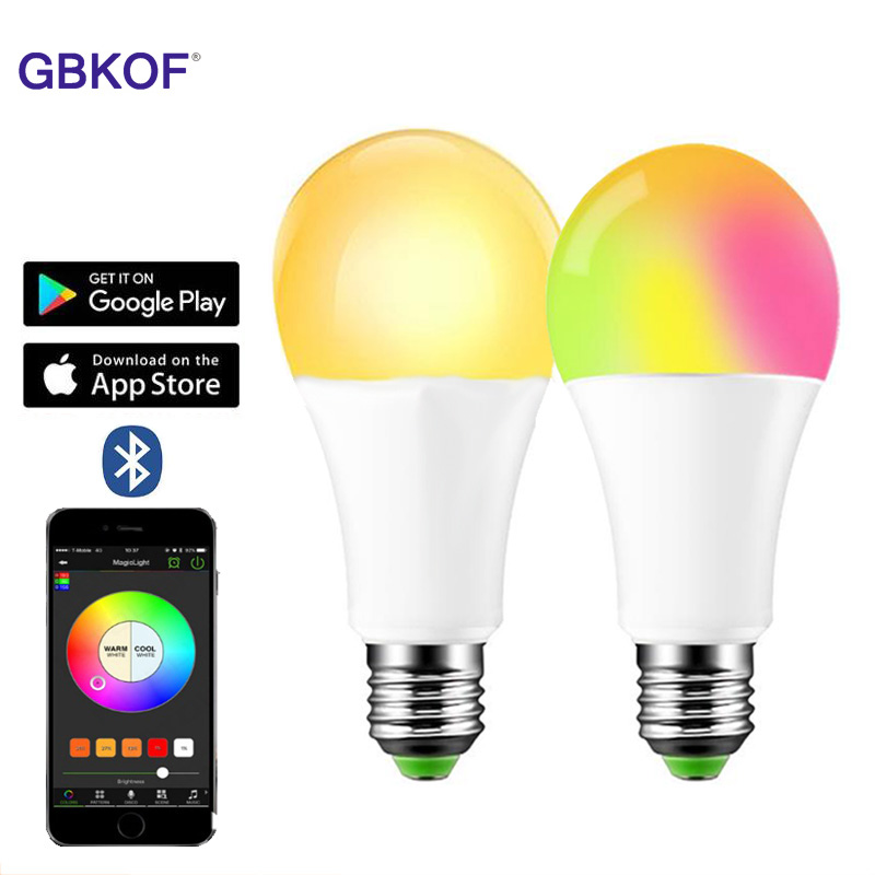 New Wireless Bluetooth Smart Bulb LED 15W RGB Magic Lamp E27 Color Change Light Bulb Smart Home Lighting Compatible IOS /Android