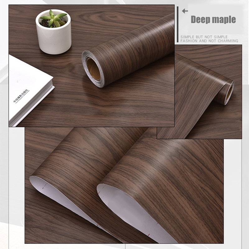 3M/5M Waterproof Self Adhesive Vinyl Wallpaper Roll Wood Grain Contact Paper Doors Cabinet Desktop Furniture Decorative Sticker