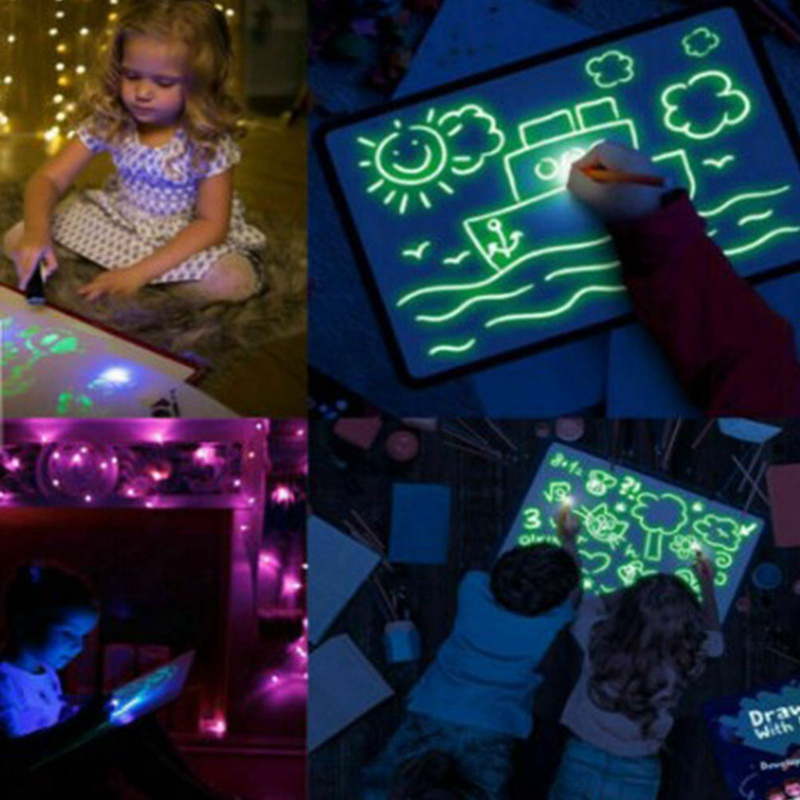 A3 A4 A5 LED Luminous Drawing Board Graffiti Doodle Drawing Tablet Magic Draw With Light-Fun Fluorescent Pen Educational Toys