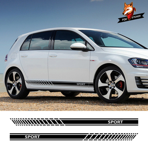 Car Door Side Sticker Skirt Stripes Auto Wasit Decals For Volkswagen VW Golf 7 5 4 3 6 2 1 MK7 MK5 MK2 MK6 MK4 MK1 MK3 GTI