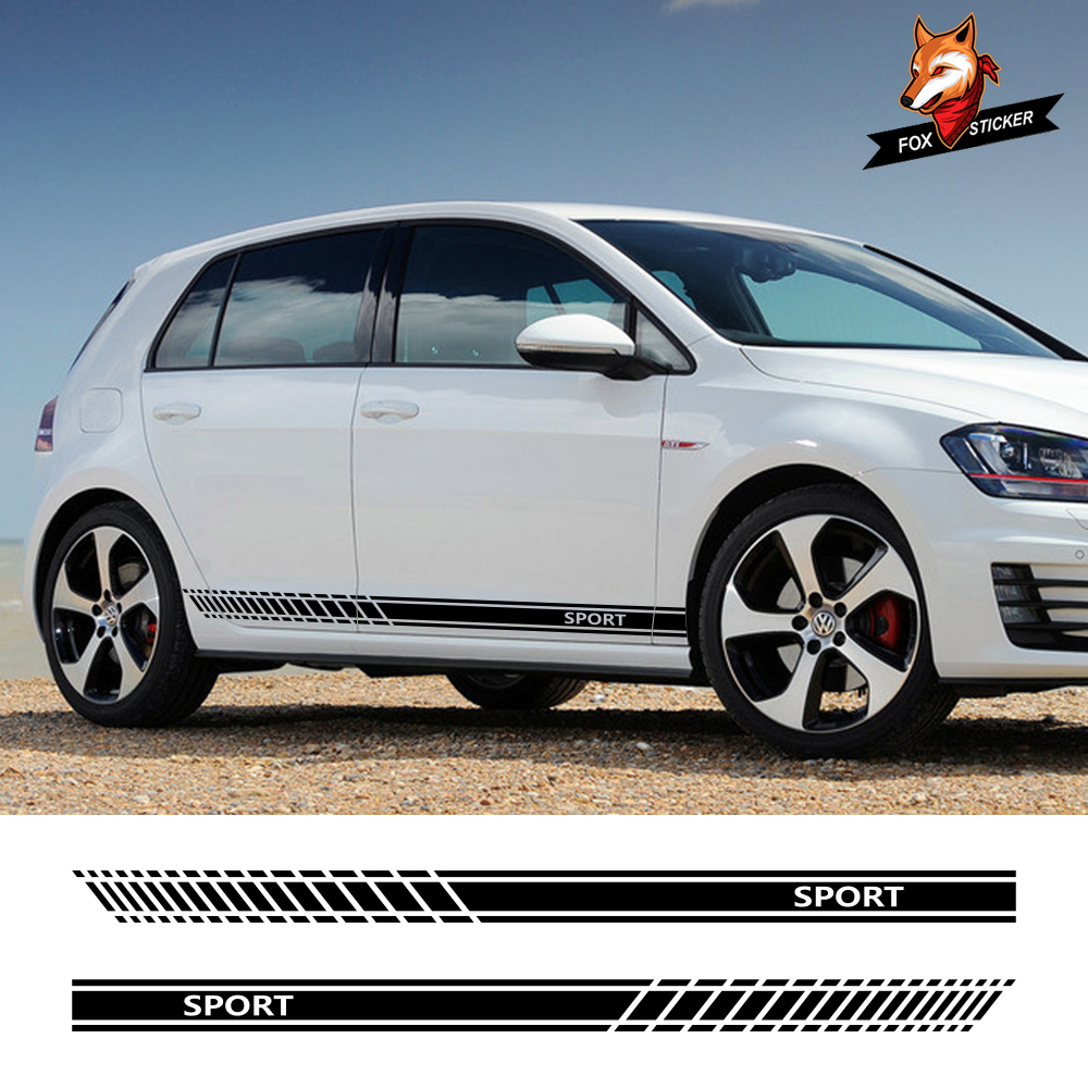 Car Door Side Sticker Skirt Stripes Auto Wasit Decals For Volkswagen <font><b>VW</b></font> <font><b>Golf</b></font> 7 5 4 3 6 2 1 MK7 MK5 MK2 MK6 MK4 MK1 <font><b>MK3</b></font> <font><b>GTI</b></font> image