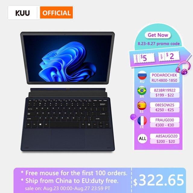 KUU Metal 12 Inch 2K Touch Screen 2 in 1 Laptop Intel Celeron Quad Core LPDDR4 8GB 256GB SSD Storage Windows 10 Dual WiFi Type C 1