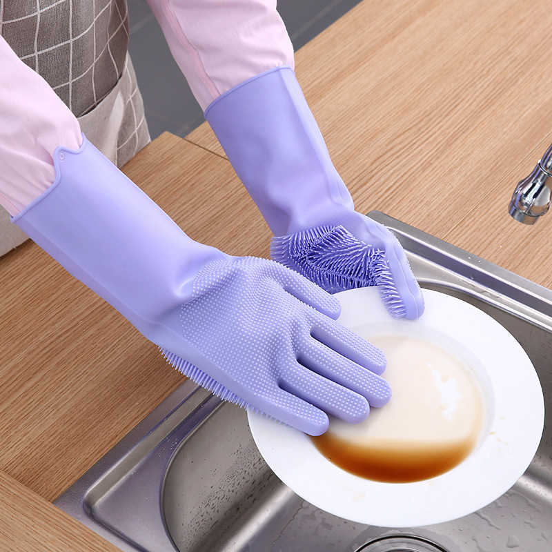 2Pcs = 1 Pair Silicone di Pulizia Della Cucina Per Lavare I Piatti Guanti Magia Scrubber di Gomma Guanti di Lavaggio del Piatto Utensili Da Cucina Gadget