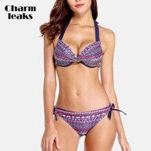 Charmleaks Women Bikini Set Vintage Floral Print Swimsuit Swimwear Bandage Sexy Push Up Bathing Suit Beachwear