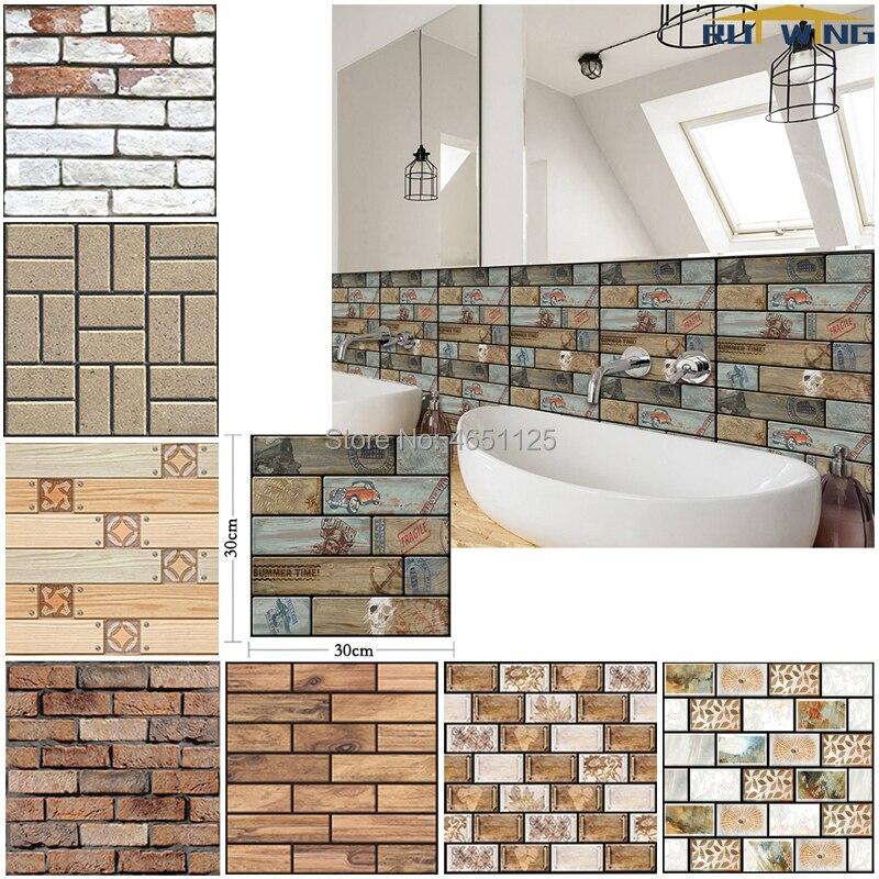 Waterproof Stone Brick Wall Sticker Washable For Bathroom Kitchen Decor Home Waterproof Wallpaper Art Decal Rustic Vintage Faux Wall Stickers Aliexpress
