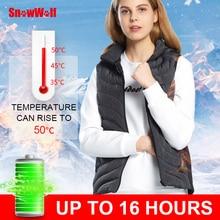 Snowwolf women winter hooded heated vest battery heating waistcoat electric outdoor hiking vest thermal coat