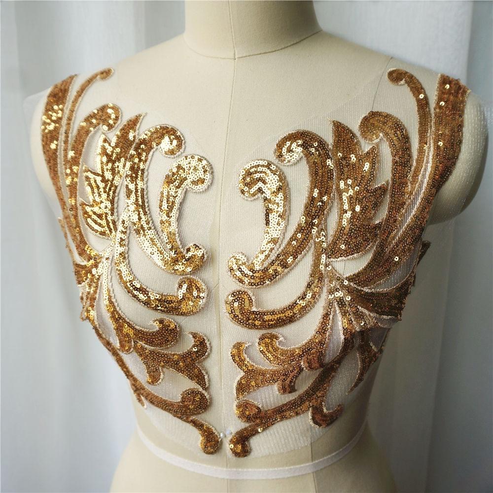 black Silver hologram sequin Motif patch Lace Wedding Dance costume Applique