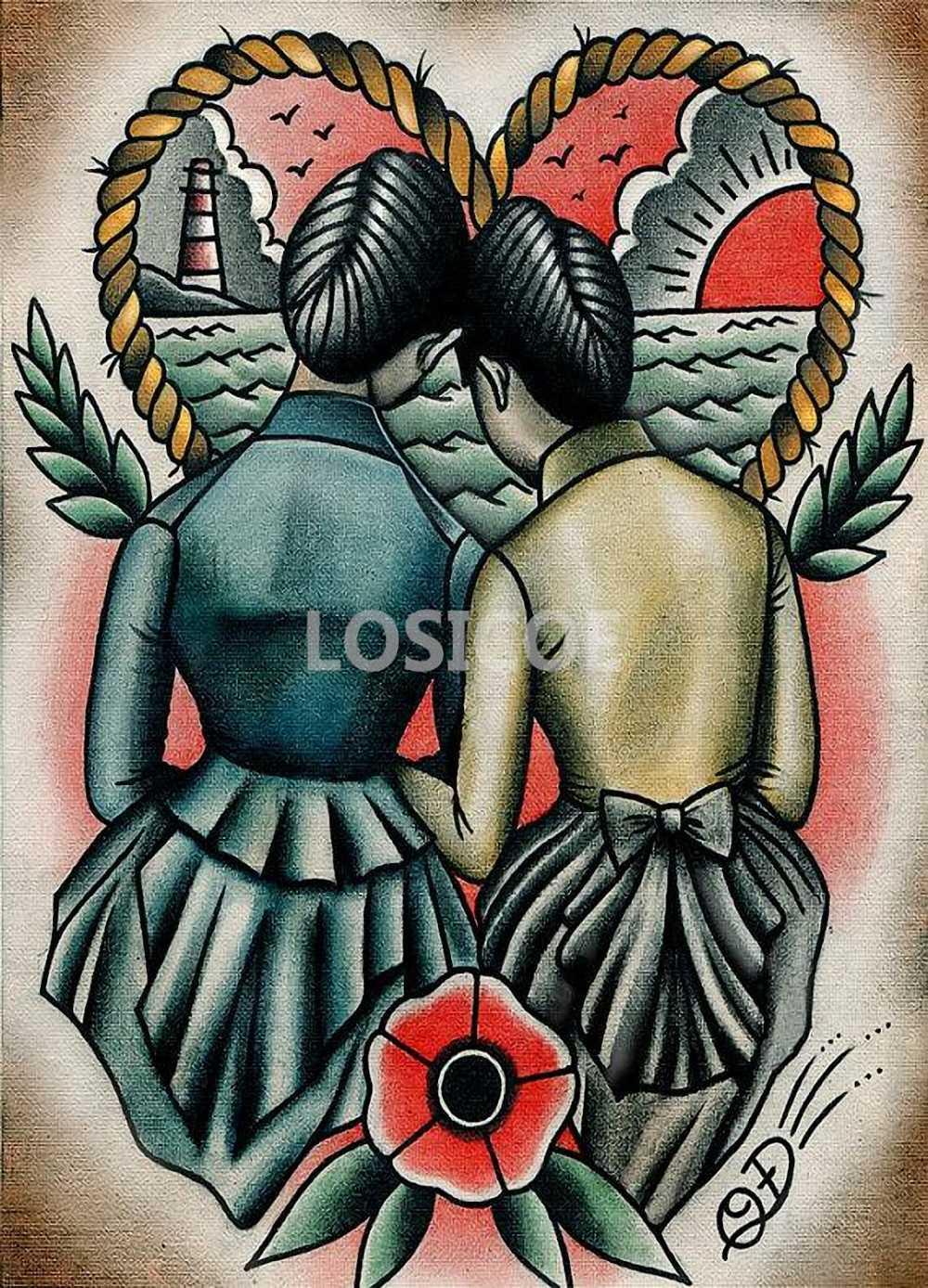 Diseño de tatuaje creativo pósteres pegatina de pared 30X42 CM nostalgia retro papel kraft HD impresión de inyección de tinta arte decoración del hogar b
