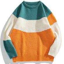 Winter Men O-Neck Oversized Sweater 2021 Hip Hop Harajuku Streetwear Korean Style Loose Warm Patchwork Pullover Knitwear Sweater