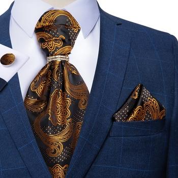 цена DiBanGu Mens Black Gold Paisley Floral Vintage Cravat Ascot Tie Self British Gentleman Wedding Party Ascot Necktie Hanky Set онлайн в 2017 году
