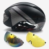 Aero helm tt zeitfahren radfahren helm für männer frauen brille rennen rennrad helm mit objektiv Casco Ciclismo fahrrad ausrüstung