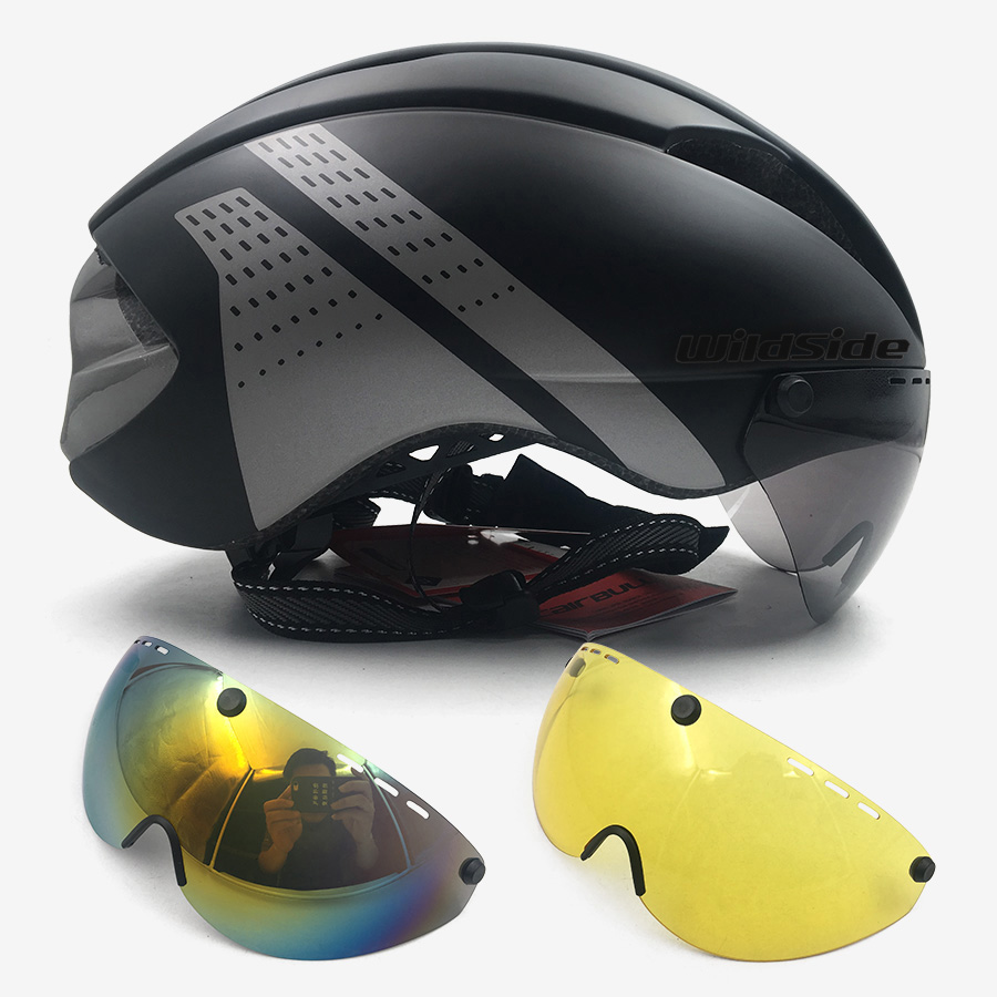 Aero helmet tt time trial cycling helmet for men women goggles race road <font><b>bike</b></font> helmet with lens Casco Ciclismo bicycle <font><b>equipment</b></font> image