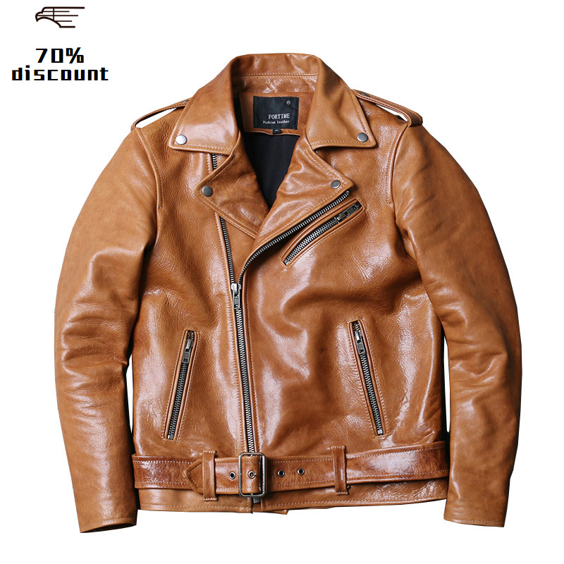 2020 Light Brown Men Slim Fit Biker's Leather Jacket Large Size XXXXL Genuine Sheepskin Autumn American Style Leather Coat