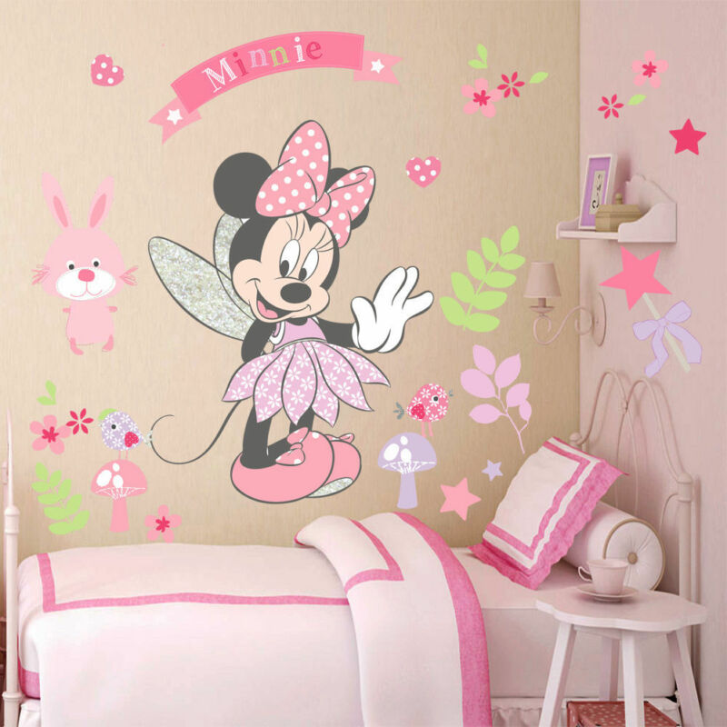 DIY Pink Minnie Mouse Wall Stickers Cartoon Mural Vinyl Decals Girls Room Decor DIY