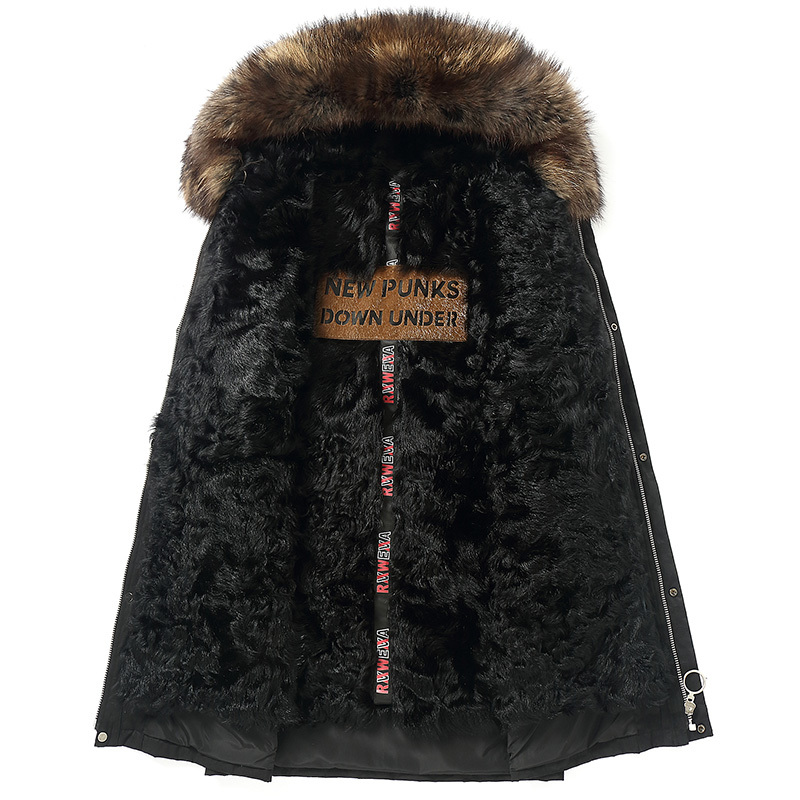 Parka Homme Winter Jacket Men Natural Wool Fur Liner Long Coat Mens Raccoon Fur Collar Parkas Jackets Z18506 MY1429