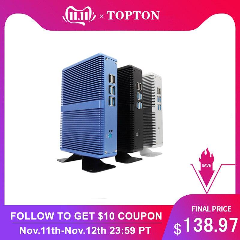 Topton Fanless Mini PC Barebone System WIn 10 Pro Any Colors Mini Pc Inter Core I3i5i7 HDML VGA LAN Desktop And Laptop Computer