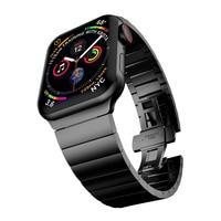 Correa de metal para apple watch, Serie 6/5/4/3/2/1/SE, banda de 44mm y 42mm para iwatch de 40mm y 38mm, pulsera de metal con hebilla de mariposa